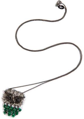 Nikos Koulis Black Rhodium Owl Pendant Necklace