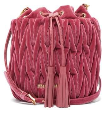 9c0b340d205 Miu Miu Matelasse Quilted Velvet Bucket Bag - Womens - Pink