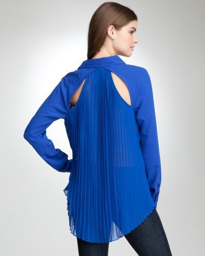 Hi-Lo Pleated Button Down Top