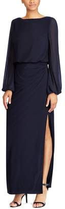 Chaps Women's Georgette-Sleeve Jersey Evening Gown