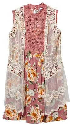 Beautees Floral Dress & Sheer Crochet Detail Vest (Big Girls)