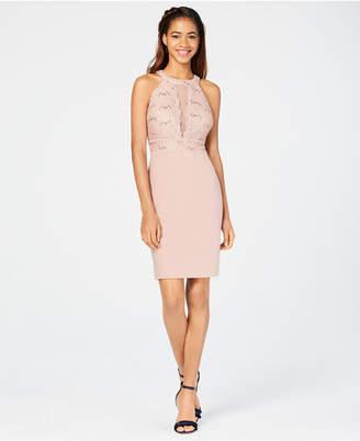 Morgan & Company Juniors' Lace-Top Bodycon Dress