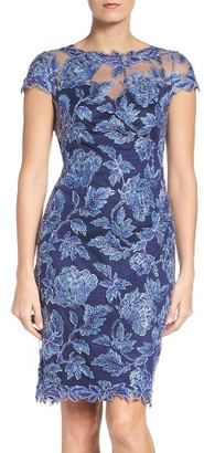 Women's Tadashi Shoji Embroidered Mesh Sheath Dress $408 thestylecure.com