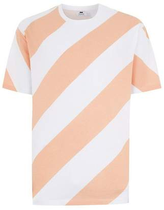 Topman Mens Orange Apricot Stripe T-Shirt