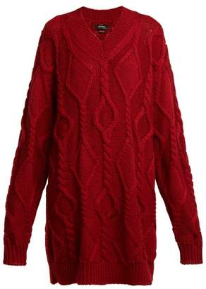Isabel Marant Bev Cable Knit Wool Sweater - Womens - Burgundy