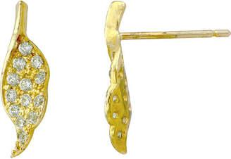 FINE JEWELRY Petite Lux Cubic Zirconia 10K Yellow Gold Angel Wing Earrings
