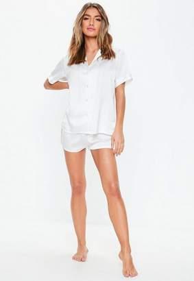c2aadc717bc Missguided White Lace Panel Short Sleeve Pyjama Set
