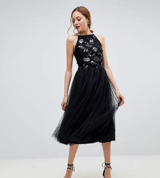 Little Mistress Tall Tulle Dress With Sequin Upper
