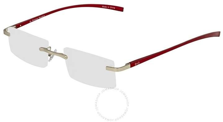 B+D Al Reader Matt Silver / Red Eyeglasses