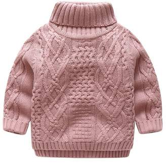 SPRMAG Baby Boys Turtleneck Solid Sweater Thick Sweatshirt Pullover 7-8T