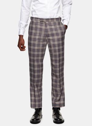 TopmanTopman HARRY BROWN Grey Ecru Check Slim Fit Suit Trousers