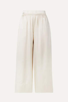 Theory Smocked Silk-satin Culottes - Cream