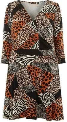 Dorothy Perkins Womens **DP Curve Black Leopard Print Mix Jersey Wrap Dress