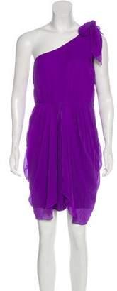 Alice + Olivia One Shoulder Silk Mini Dress