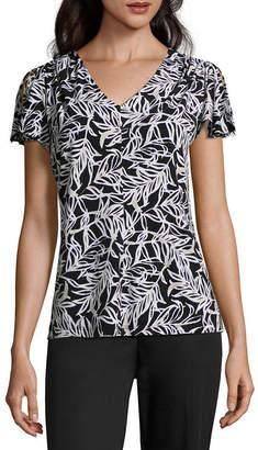 Liz Claiborne Flutter Sleeve V Neck Knit Blouse