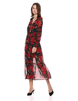 The Kooples Women's Women's V-Neck red Roses Dress with sinched Waist and Ruffled Sleeve