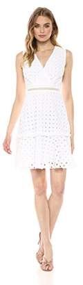 Donna Morgan Women's Eyelet Fit and Flare Dress