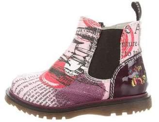 John Galliano Girls' Printed Leather Boots