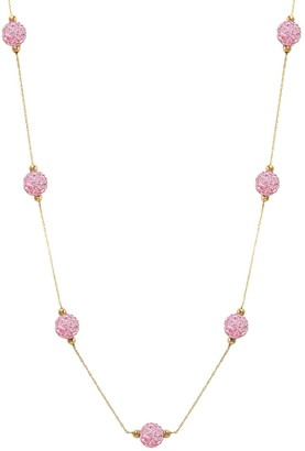 14K Gold Bead White Crystal Station Necklace
