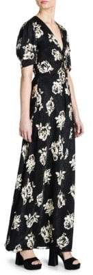 Miu Miu Silk Jacquard V-Neck Print Maxi Dress