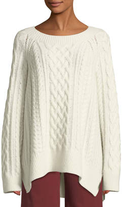 Vince Cable-Knit Wool-Blend Tunic Sweater