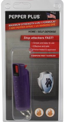 Pepper Plus Pepper Spray with Hard Case Key Ring Belt Clip - Purple (0.5 oz)