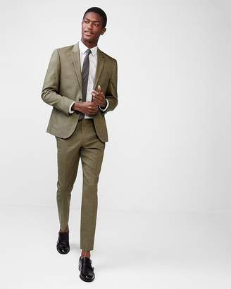Express Extra Slim Olive Green Wool-Linen Blend Suit Pant