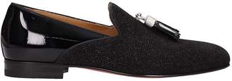 Christian Louboutin Black Glitter And Patent Leather Loafers