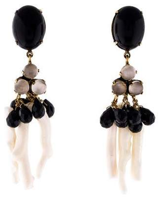Bounkit Coral, Onyx & Moonstone Drop Earrings