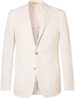 Canali Ecru Kei Slim-fit Linen And Silk-blend Suit Jacket - Ecru
