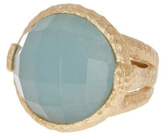 Rivka Friedman 18K Gold Clad Faceted Round Caribbean Blue Quartzite Hammered Bezel Ring