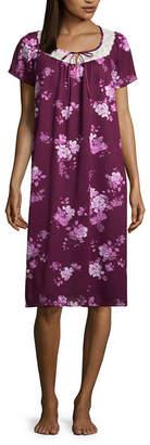 Adonna Woven Short Sleeve U Neck Dots Nightgown