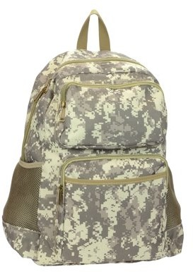 Montauk Leather Club Military Camouflage Water Resistant Backpack with 2 Front Zipper Pockets