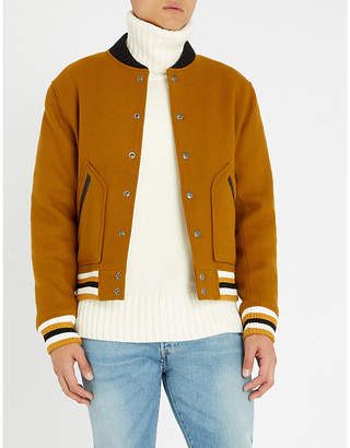 Sandro Leather-trim wool-blend bomber jacket