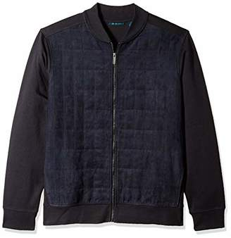 Perry Ellis Men's Big and Tall Quilted Faux Suede Full Zip Jacket