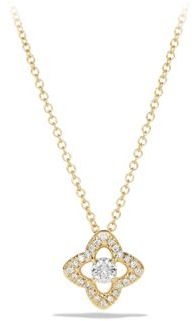 David Yurman Venetian Quatrefoil Necklace with Diamonds in 18K Gold $1,250 thestylecure.com