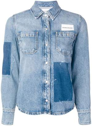 Calvin Klein Jeans patchwork denim shirt