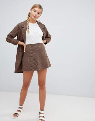 Monki Brown Houndstooth Flared Mini Skirt