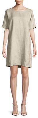 Eileen Fisher Scoop Neck Linen Blend Dress