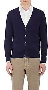 Piattelli MEN'S COTTON-BLEND V-NECK CARDIGAN-NAVY SIZE XL