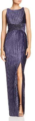 Adrianna Papell Ribbed Velvet Column Gown