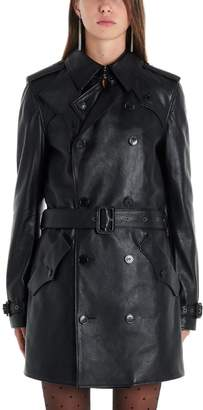 Saint Laurent Double Breasted Belted Leather Trench Coat