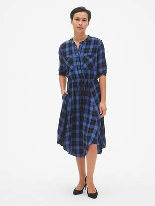 Gap Plaid Midi Tie-Waist Shirtdress
