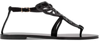 Sophia Webster Bibi Butterfly Glittered Suede Sandals - Black