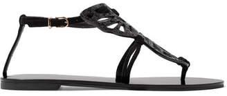 Sophia Webster Bibi Butterfly Glittered Suede Sandals - Black
