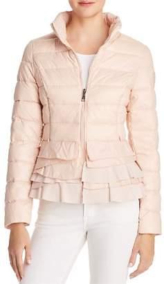 T Tahari Zoey Ruffled Puffer Coat