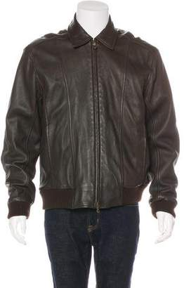 Façonnable Leather Bomber Jacket