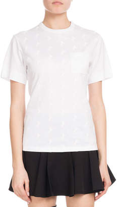 Chloé Crewneck Short-Sleeve Horse-Print Cotton Jersey T-Shirt w/ Pocket