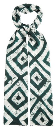 eskandar Expanding Squares Shibori Dyed Silk Scarf - Womens - Green