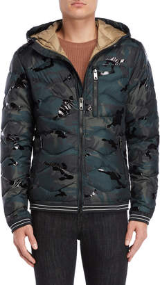 Jet Lag Jetlag Camo Hooded Down Jacket